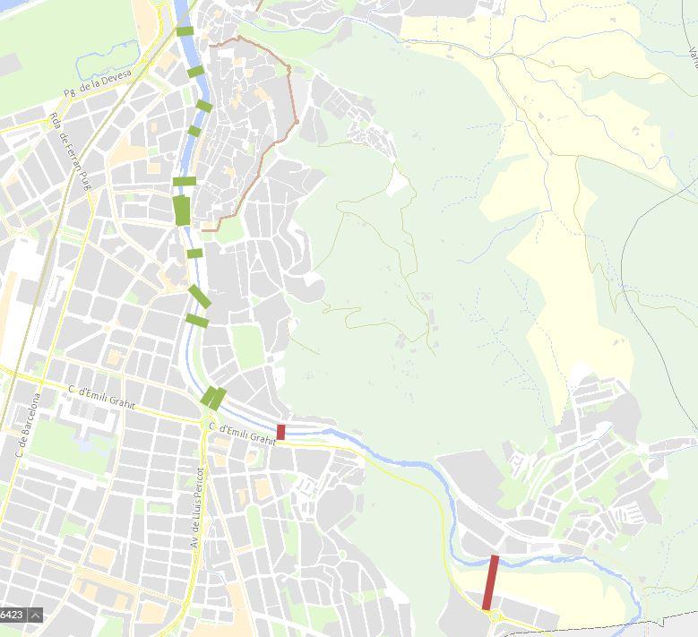 Mapa dels ponts sobre l'Onyar a Girona